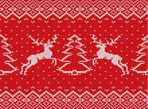 Knitted christmas texture with deers, christmas trees and geometric ornament. Xmas seamless pattern. stock illustration