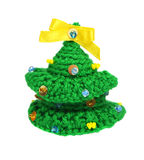 Knitted Christmas tree. Isolated. Hobby. Stock Photo