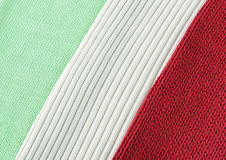 Knitted cloth of three colors like Italian flag Stock Image