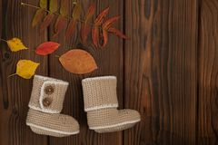 Knitted clothes on Autumn fallen multi-colored leaves wooden background. Knitted clothes on Autumn fallen multi-colored leaves wooden background stock photos