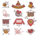 Knitted clothing or knitwear winter clothes scarf mittens and sweater vector icons Stock Photography
