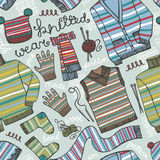 Knitted clothing seamless pattern.Colored strips Stock Photography