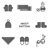 Knitted clothing. Set of flat line icons. Modern Royalty Free Stock Images