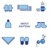 Knitted clothing. Set of flat line icons. Modern Royalty Free Stock Photo