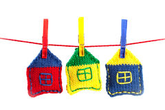Knitted colorful houses stock photography