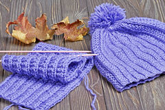 Knitted colorful scarf and hat Stock Photography
