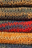Knitted colorful wintry scarf Stock Photo