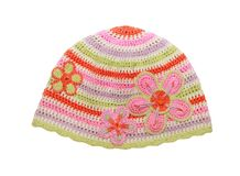 Knitted cotton hat for little girl Royalty Free Stock Photos