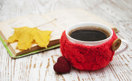 Knitted cup of coffee Royalty Free Stock Image