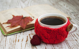 Knitted cup of coffee Royalty Free Stock Photos
