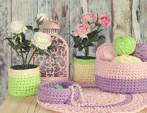 Knitted Decor Ideas for home. Crochet Baskets,Doilies Stock Photo