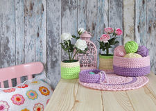 Knitted Decor Ideas for home. Crochet Baskets,Doilies,Pillow Royalty Free Stock Image