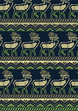 Knitted deer design. Vector illustration of deer in a repeat knitted pattern Royalty Free Stock Photos