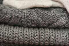 Knitted details of warm clothes sweater Royalty Free Stock Images