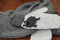 Knitted details of warm clothes sweater Stock Photos