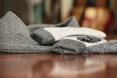 Knitted details of warm clothes sweater Royalty Free Stock Photography