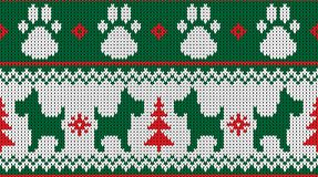 Knitted dog and paws seamless pattern red white vector illustration stock illustration