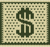 Knitted dollar scheme Royalty Free Stock Photography