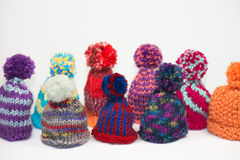 Knitted egg cozys Stock Photography