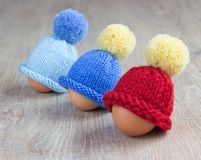 Knitted egg warmers Royalty Free Stock Photo