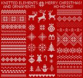 Knitted elements and borders. Vector set. Stock Photography