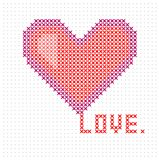 Knitted, embroidered heart. Heart Valentine`s day card. Vector. vector illustration