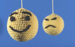 Knitted emoticons Stock Images