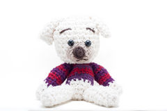Knitted füllte Hund an Lizenzfreie Stockfotos