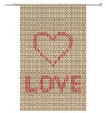 Knitted fabric with heart Stock Photography