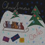Knitted fabric printed with a Christmas theme Royalty Free Stock Images
