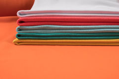 Knitted fabrics in assortment Royalty Free Stock Photos