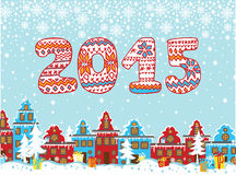 2015 knitted figures. Cartoon Christmas city Royalty Free Stock Photos