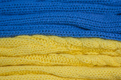 Knitted flag of Ukraine Stock Photos