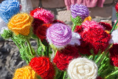 Knitted flower Stock Images