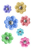 Knitted flowers isolated. Colorful knitted flowers on white background Stock Images
