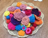 Knitted flowers Royalty Free Stock Images