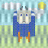Knitted funny cartoon blue sheep in the field Stock Images