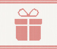 Knitted gift box. vector illustration Royalty Free Stock Photos