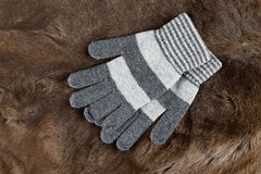 Knitted gloves on a background of fur Royalty Free Stock Photos