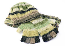Knitted gloves and cap Stock Photography