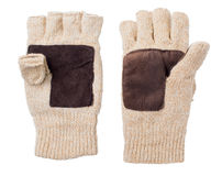 Knitted gloves with the cut-off ends Stock Image