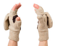 Knitted gloves with the cut-off ends Royalty Free Stock Photography