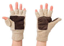 Knitted gloves with the cut-off ends Stock Photos