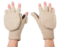 Knitted gloves with the cut-off ends Royalty Free Stock Images