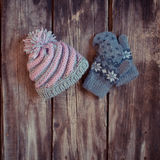 Knitted gloves and hat Royalty Free Stock Images