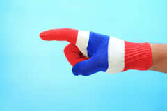 Knitted gloves with Thailand national flag Royalty Free Stock Photography