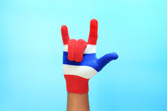 Knitted gloves with Thailand national flag Stock Photo