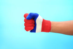 Knitted gloves with Thailand national flag Royalty Free Stock Photo