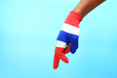 Knitted gloves with Thailand national flag Royalty Free Stock Images