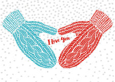 Knitted gloves and the words I Love You, vector greeting postcard Stock Photography